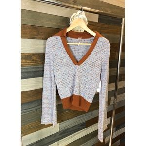 Free People Round About V Neck Sweater NWT